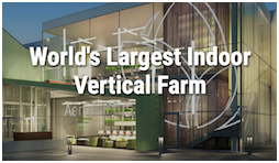 Image of front entrance to the AeroFarms company building, where the world's largest indoor vertical farm is housed