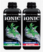 Image of the different bottles of Ionic Hydro nutrient solution used for growing plants hydroponically (in hard water)