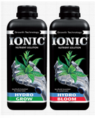 Image of the different bottles of Ionic Hydro nutrient solution used for growing plants hydroponically (in soft water)